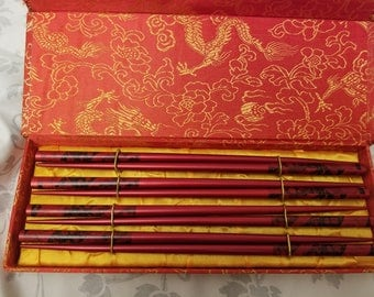 4 sets Chinese scenery chopsticks in red box Very nice Pier 1 imports