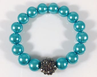 Turquoise glass pearl bracelet, sparkly accent