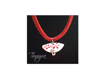 """Flower"" enamel pendant necklace."