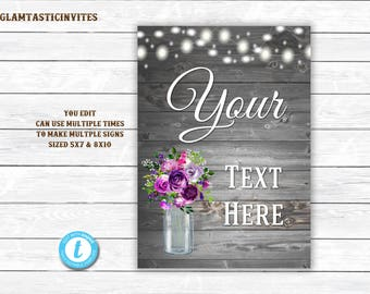 Rustic Sign, Sign Template, You Edit, Wedding Sign Template, Printable Custom Sign, Fully Editable, Wedding Sign, Shower Sign, Wood Sign