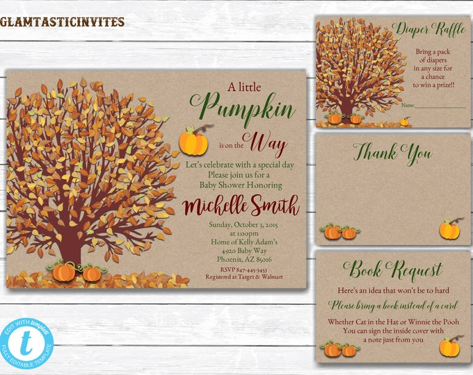 Pumpkin Baby Shower Invite, Little Pumpkin Baby Shower Invitation, Fall Baby Shower, Baby Shower Template, Baby Shower Package Template, DIY