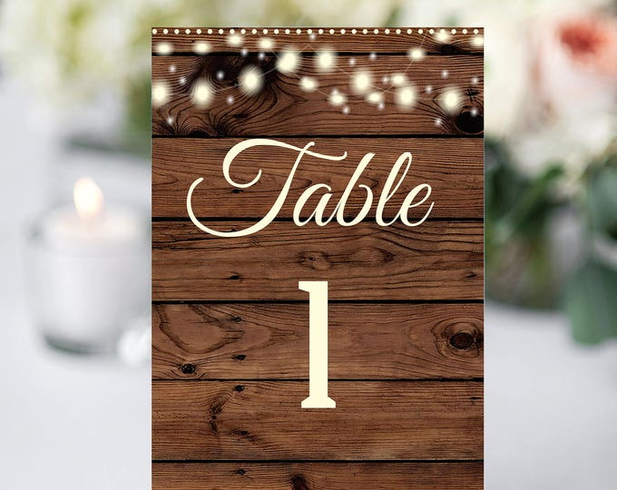 Rustic Table Numbers, Printable Table Numbers, Wedding Table Numbers, Instant Download, Rustic Wedding, YOU EDIT, DIY, Wedding Template