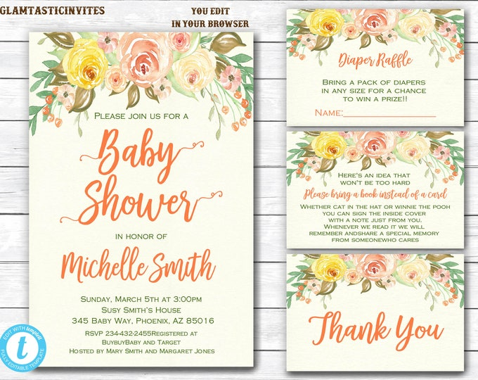 Baby Shower Template, Baby shower Invitation Package, Floral Baby Shower Invitation,, Watercolor, Baby Shower Invite, You Edit, Printable