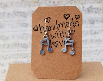 Music Note Earrings, Small Dangle Musical Lover Jewelry, Musical Instrument Earrings, Music Teacher Gifts, Vocal Coach Gifts