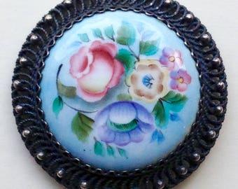 Silver Filigree And Floral Enamel Brooch