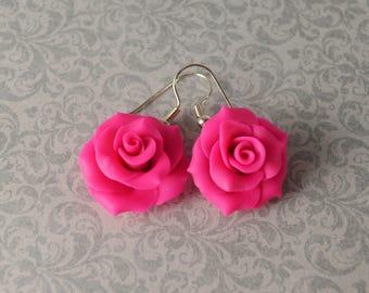 Polymer Clay Earrings. Rose Earrings. Hot Pink Roses. Flower Earrings. Dangle Earrings. Gift for Her. Handmade Jewelry