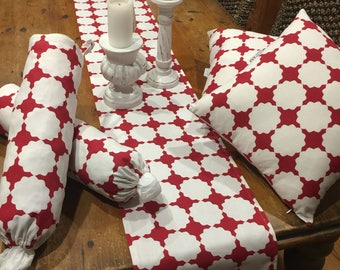 Home Decor Sets, Matching, Modern, Retro, White and Red Geometric, Various