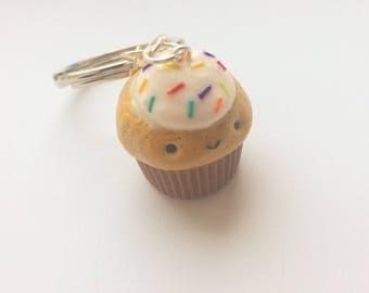 Vanilla Rainbow Sprinkles Cupcake Keychain