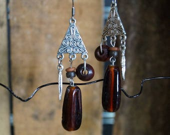 Tibetan earrings Burgundy