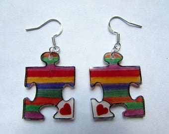 colourful puzzle earrings