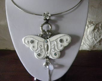 Silver Choker with butterfly charms and white metal pendant