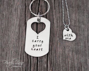 I carry your heart with me necklace and keychain couple's set, hand stamped couple set