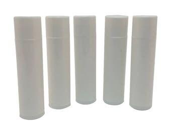Set of 25 Empty Lip Balm Tubes Lip Balm Containers WHITE