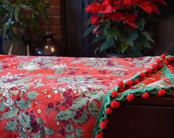 Vintage Holly and Mistletoe Red Tablecloth/MCM Design/Pompom Trim/ 1950s Christmas/ Retro Christmas/ Mid Century Christmas