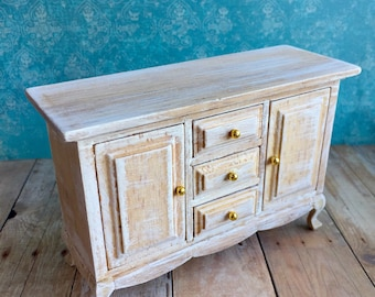 Dollhouse Sideboard, Miniature Beach Furniture, Shabby Chic Cabinet Part 83