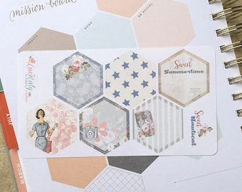 SWEET NAUTICAL Mission Board Hexagons:  Planner Stickers   Bound - A5 - Quarterly   inkWELL Press Planners   LucKaty  