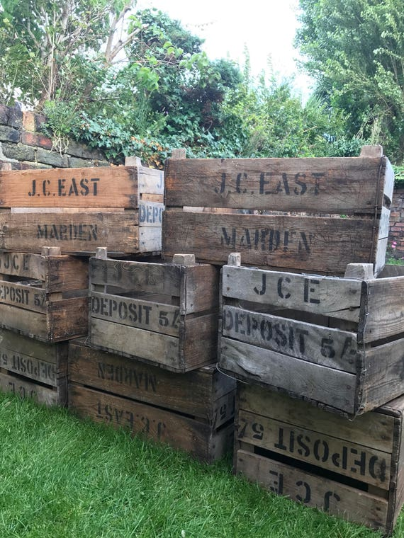 Vintage Wooden Storage Crates | Collectible Fruit Crates | Wooden Storage Box Crates | Retro Crates | Photo Props | Shop and Window Display