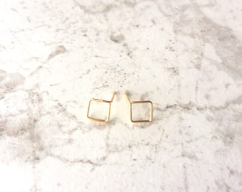 Dainty Gold Square Post Earrings