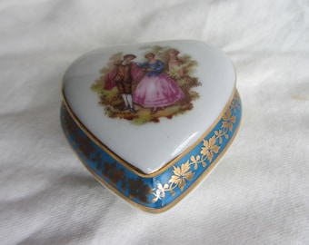 Vintage Limoges heart shaped trinket box, real gold gilding with lovers.  Dresser top, ring, brooch, jewelry