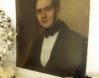 Beautiful antique portrait, oil on cardboard, Biedermeier, Germany, young man, 1850....CHARMANT!