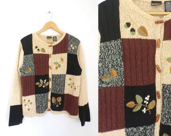90s Fall Cardigan Sweater Toggle Button Down Ramie Cotton Cardigan Patchwork Chenille Leaves Cable Knit Autumn Sweater Womens Jumper Small