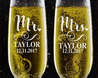 Set of 2 Personalized Wedding Toast Champagne Flutes - Mr. Mrs. Date & Last Name Hearth Champagne Wedding Glasses  Engraved Flutes - DSG #14