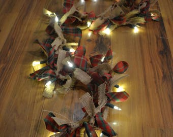 Red and Green Christmas Plaid and Burlap Lighted LED Garland
