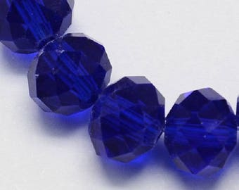 """Royal Blue 6x4mm Faceted Rondelle Glass Beads (18"""" Strand)"""