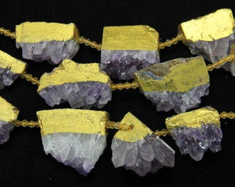 Large Size,Raw Amethyst Quartz Nugget Beads,9CS,with Golden Edged,DIY Jewelry,18-48x28-38mm