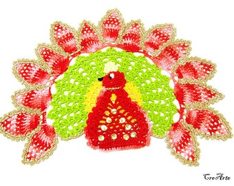 Peacock Crochet Doily, Colorful Peacock, Centrino con Pavone