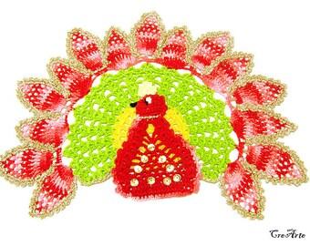 Colorful crochet peacock doily, centrino colorato a forma di pavone all'uncinetto