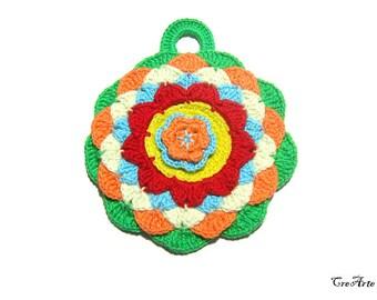 Round colorful crochet potholder, presina rotonda colorata all'uncinetto