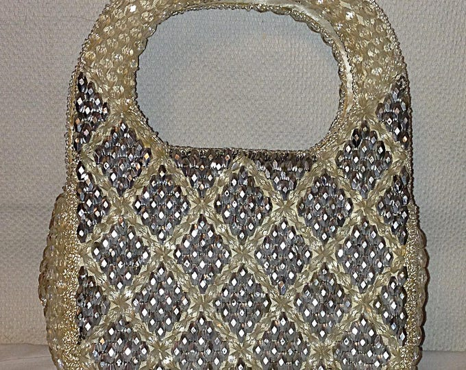 Vintage 50s 60s Hollywood Shaggee Of California Beaded Clear Silver Evening Cocktail Special Occasion Clutch Handbag Purse