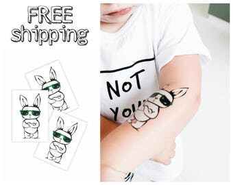 Set of 3 temporary tattoos « Rad rabbit». Hipster style kids body stickers with bunny in sunglasses. Spring festival party favors. TT216