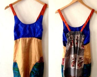 Boho Tank Top made from Re-Purposed Silk Saris from India // Patchwork multicolor top // Small tops // hippie tank top // goa style