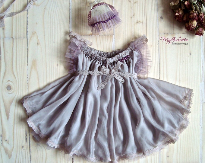 Photo Props Dress, Newborn Dress, Custom Girl Dress, Sitter Size Prop Outfit, Frills, Girl Prop Outfit, Pink Powder, Baby Photography