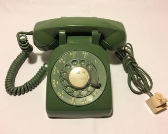 Vintage Phone Western Electric Telephone 1970s Office Desk Phones Rotary Dial Telephones Green Bell System Telephone w/Adapter T59 AG7007