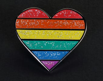 LGBT Rainbow Pride Flag, Hard Enamel, Glittered Heart Pins - lesbian, gay, bisexual and transgender