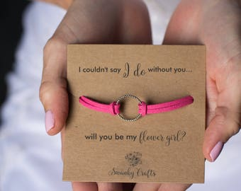 Flower girl gift - will you be my flower girl - eternity bracelets - gifts for her - i couldnt say i do without you - gifts under 20