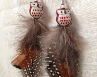 Ceramic Owl Bead and Feather Dangle Earrings