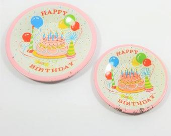 Vintage Tin Litho Happy Birthday Plates. Children's Tin Tea Set Kitchen Toys. Pink and White. Birthday Cake.
