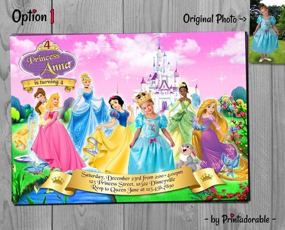 Disney Princesses Invitation - Princess Birthday Invite - Snow White, Cinderella, Rapunzel, Tiana, Bela & Sleeping Beauty