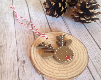 Rudolph tree decoration, Wood slice reindeer decoration, Personalised christmas tree decoration, reindeer personalised, fiver Friday