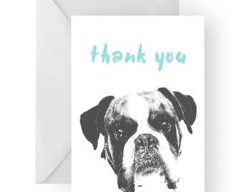 Boxer thank you card- Boxer greeting card, dog card,Boxer thank you card, Boxer dog gift, Boxer gift card, boxer dog gift, boxer dog card
