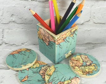 Custom Map Pencil Pot & Set of 4 Map Coasters, Wanderlust Gift, Pencil Holder, Desk Storage, Desk Tidy, Map Gift Choose your locations!