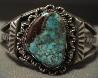 Museum Vintage Navajo Red Mountain Turquoise Silver Coiled Bracelet