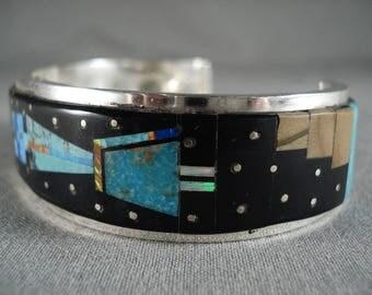 Long Yei Kachina Space Inlay Navajo Turquoise Opal Silver Bracelet
