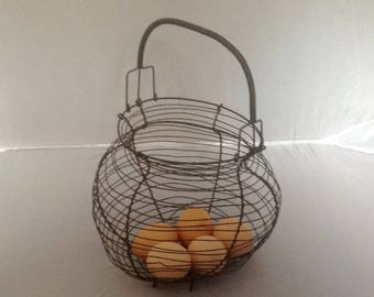 French Vintage Wire Egg Basket Vintage Wirework Egg Basket Wire Basket  Lay By Available ( Ref No. A143 )
