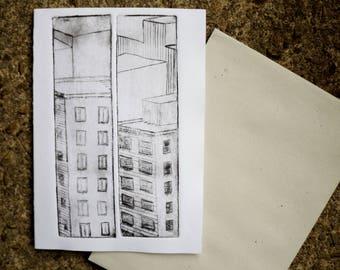 Hand printed Buildings diptyque greeting card