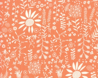 Wildflowers in clementine, Wild Nectar, Crystal Manning for Moda 11804 14